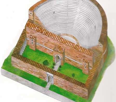 Ipotesi ricostruttiva dell'antico teatro romano (da disegno Ditta Agorà di Adria)